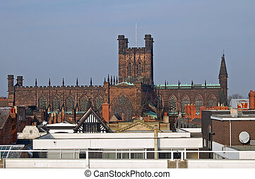 Cathedral Above The - Chester Cathedral viewed rising above...