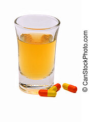 Whiskey Chaser - Whiskey In A Shot Glass With Pills