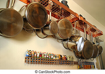 Hanging Pots and Pans 2 - Neat and practical setting in a...