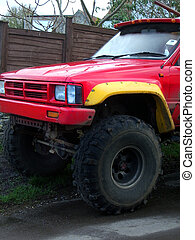 Red 4x4 - front of red 4x4