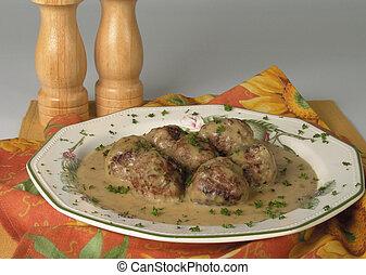 Meatballs with creamy mustard sauce