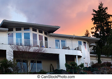 Dream house - Sunset over posh neighborhood