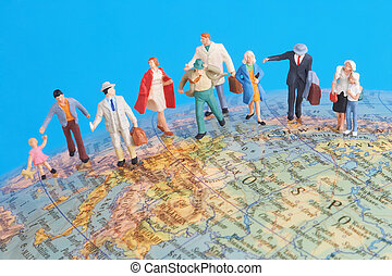 around the world - game figures on a globe