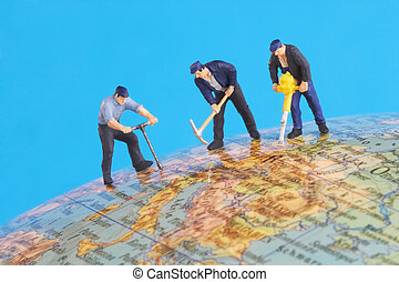 working around the world - game figures on a globe