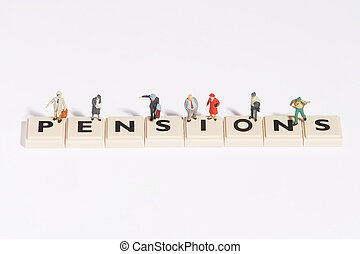 wordgames- pension - pension written of scrabble-stones with...