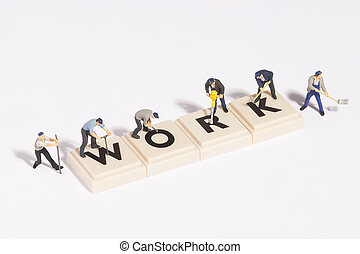 wordgames- work - work written of scrabble-stones with...