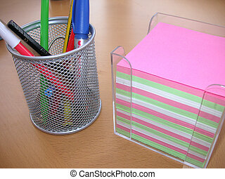desktidy and notes - paper for notes and a desktidy with...