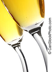 Champagne Toast - Champagne toast from low angle with...