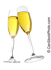 Champagne Toast - Champagne toast with two flutes with curvy...