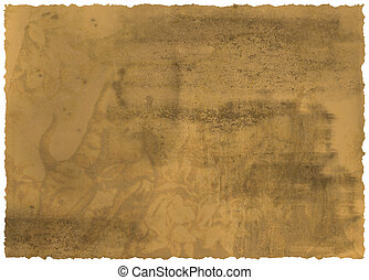 Old textured paper with tattered edge with decoration