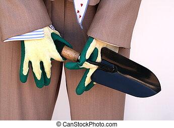 手袋, ビジネス, スーツ