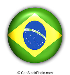Brazil Flag - World Flag Button Series - South America-...