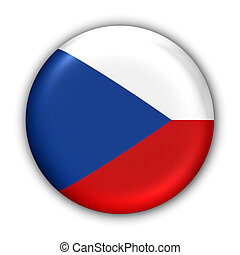 Czech Republic Flag - World Flag Button Series - Europe -...