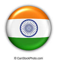India Flag - World Flag Button Series - Asia - India With...