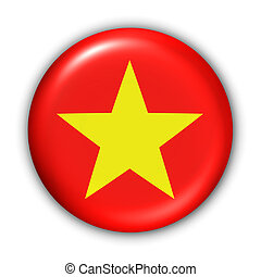 Vietnam Flag - World Flag Button Series - Asia - Vietnam...