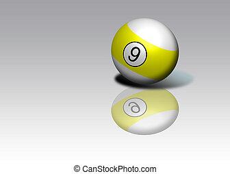 Nine Ball - Pool nine ball with shadow and reflection