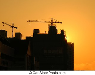 Construction Site in Outline - -- seen against a beautiful...