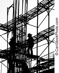 Silhouette of Construction Workers