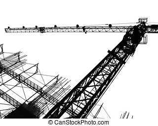 Crane and Scaffolding - -- seen in outline form