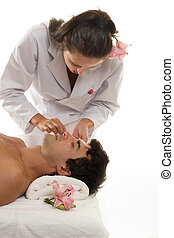 Beautician with Male Client - Beatician or esthetician...