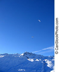 Paragliding in the Mountains Tignes, France