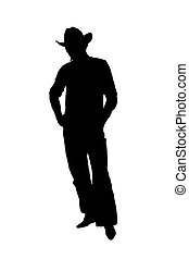 silhouette cowboy - cowboy silhouette over white