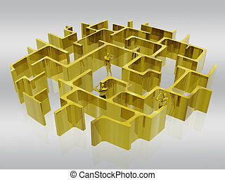 The golden maze of business. - Businessman searching the...