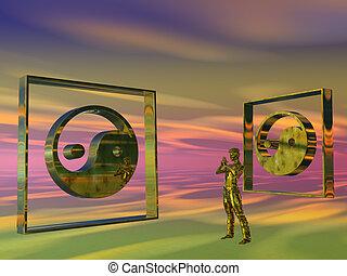 Golden Meditating man, Yin Yang - 3D illustration,...