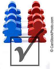Voter Turnout - Red and blue people representing democratic...