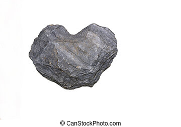 Heart of Stone - Heart shaped piece of slate against a white...