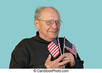 bandera, viejo, hombre