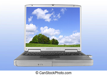 Escape Into Nature - Silver laptop with a picture of trees...