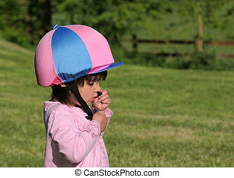 The Pink and Blue Riding Hat