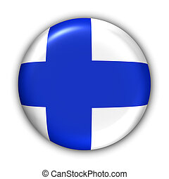 Finland Flag - World Flag Button Series - Europe -...