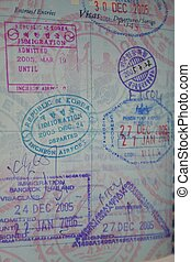 multi national immigration stamps