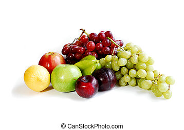Fruits on white