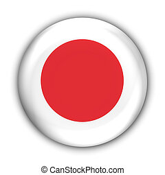 Japan Flag - World Flag Button Series - Asia - Japan With...