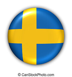 Sweden Flag - World Flag Button Series - Europe - SwedenWith...