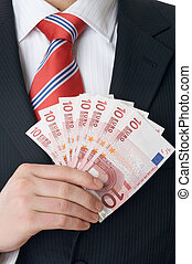 70 euro - cantle of a businessman on white Background with...