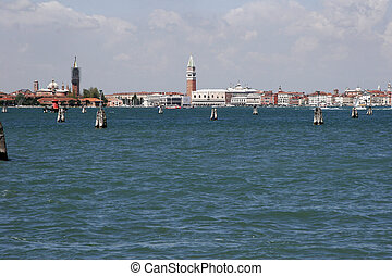 Skyline of Venice from Lido, Italy