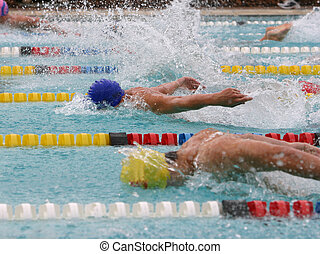 Butterfly swim stroke race