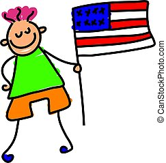 American kid - toddler holding the American flag