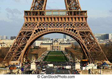 The Eiffel tower - Closeup view on the first floor of the...
