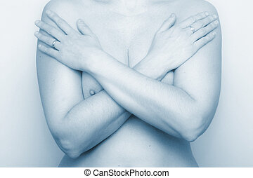Arms Crossed Blue - Nude with arms crossed over chest blue...