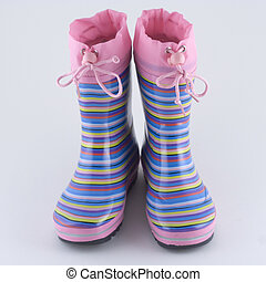 Girls Wellingtons - Multi-colored striped rain boots