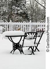 Bistro Set at Rest - Garden furniture still after a...