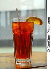 Lemon iced tea in a tall glass