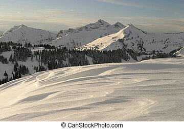 Rainier Ridge - A view across several snowdrifts at sunrise...
