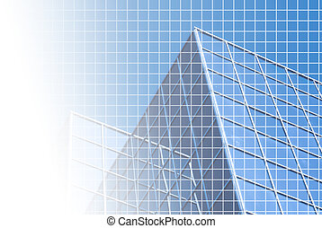 Blue office with grid - Background of blue-tinted corporate...