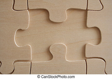 Wooden jigsaw 1 - One wooden jigwaw piece missed